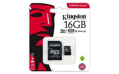 "Memóriakártya, microSDHC, 16GB, C10/U1, 80/10MB/s, adapter, KINGSTON ""Canvas Select"""